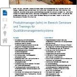 Produktmanager (w/m) im Bereich Seminare und Trainings für Qualitätsmanagementsysteme