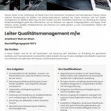 Leiter Qualitätsmanagement m/w