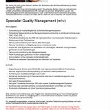 Specialist Quality Management (m/w)